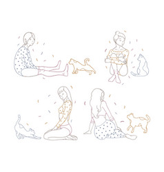 Bundle pretty girls in pajamas sitting on floor vector