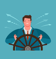 businessman at helm on road to success vector image