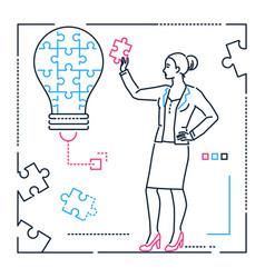 Businesswoman doing puzzle - line design style vector