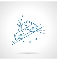 Car on slope flat line icon vector image