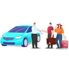 Car rental and traveling vehicle with family vector