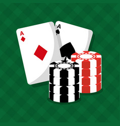 cards of poker and chips game green background vector image