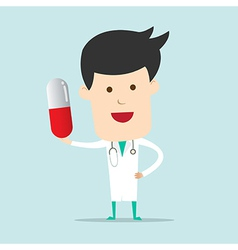 Cartoon doctor character use hand showing one vector