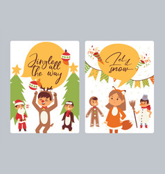 christmas 2019 happy new year greeting card happy vector image