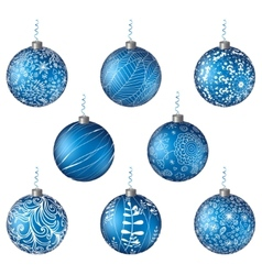Christmas set blue balls vector image