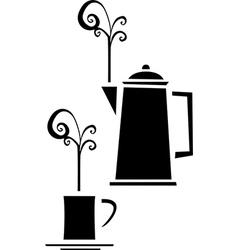 Coffee Pot and Mug vector image vector image