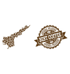 Collage map of andhra pradesh state with coffee vector