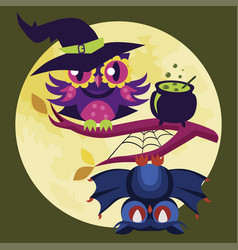 colorful halloween owl flat poster vector image