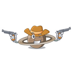 Cowboy pluto saturn isolated in with mascot vector