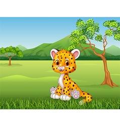 Cute baby cheetah in jungle vector image