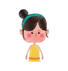 Cute girl icon vector