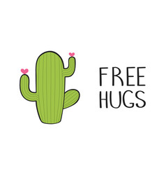 cute hand drawn cactus with inspirational funny vector image