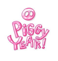 cute pig snout in pink color with new year 2019 vector image