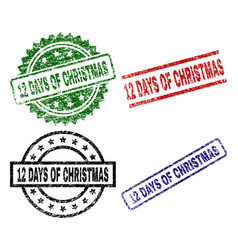 Damaged textured 12 days of christmas seal stamps vector