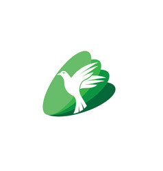dove bird open wings and fly for logo vector image
