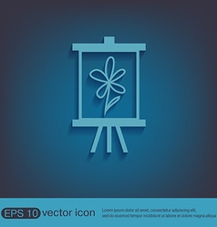 Easel with picture Icon painting school symbol vector image