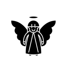 easter angel black icon sign on isolated vector image