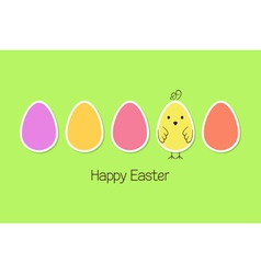 Easter eggs and baby bird vector