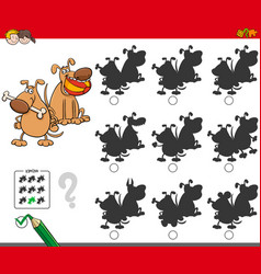 Educational shadow game with dog characters vector