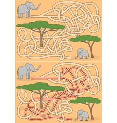 Elephant maze vector image vector image