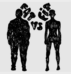 Fat vs fit woman silhouette a slim and fat vector