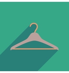 Flat icon with long shadow Clothes hanger vector