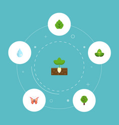 flat icons eco energy sprout wood and other vector image