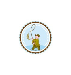 Fly Fisherman Fish On Reel Rosette Cartoon vector image
