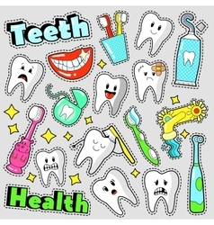 Funny Teeth and Dentistry Elements Stickers vector