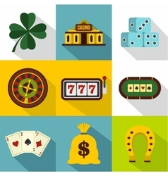 Gambling icons set flat style vector