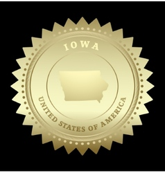 Gold star label Iowa vector