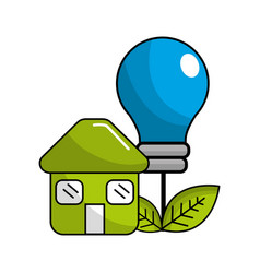 Green house with save bulb plant with leaves vector