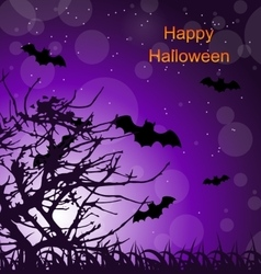 Halloween Night Background with Bats vector