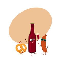 happy beer bottle salty pretzel frankfurter vector image