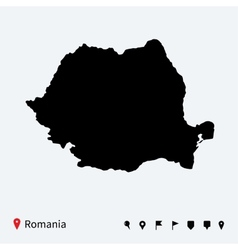 High detailed map of Romania with navigation pins vector image