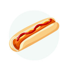 hot dog with bread sausage ketchup and mustard vector image