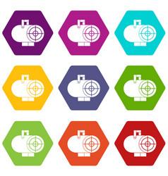 industrial fan heater icon set color hexahedron vector image