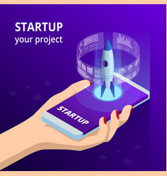 Isometric online businnes start up for web page vector