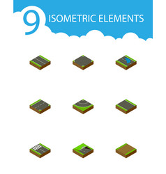 Isometric road set of plash footpath road and vector