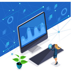 isometric stylish woman a business lady manages vector image