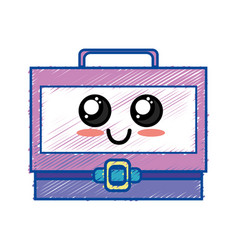 kawaii cute happy suitcase design vector image