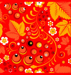 khokhloma seamless pattern in russian folk style vector image
