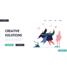 landing page with man and woman referring a friend vector image