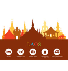 Laos landmarks skyline with accommodation icons vector