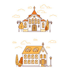 line art set houses christian churches vector image