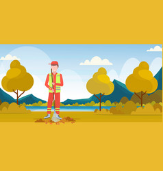 Male street cleaner holding rake man sweeping lawn vector