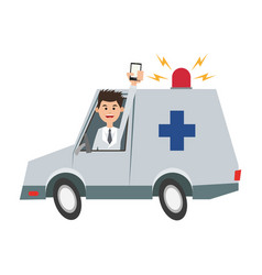 Man holding cellphone while driving ambulance icon vector
