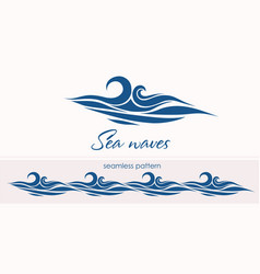 marine seamless pattern with stylized waves on a vector image