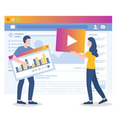 Media marketing people works on website promotion vector