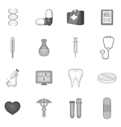 Medicine icons set black monochrome style vector
